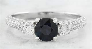 156 CTW Sapphire 18K White Gold Diamond Ring