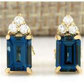 215 CTW Natural Topaz And Diamond Earrings 18K Solid