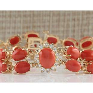 31.50CTW Natural Red Coral And Diamond Bracelet In 14K