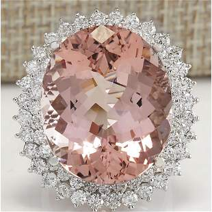 31.81 CTW Natural Peach Morganite And Diamond Ring In