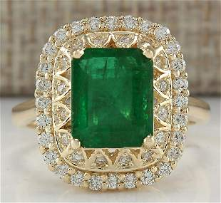 3.11CTW Natural Emerald And Diamond Ring In14K Solid