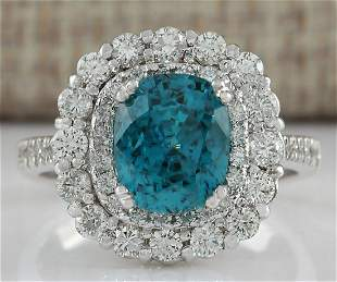 6.54 CTW Natural Blue Zircon And Diamond Ring 14K Solid