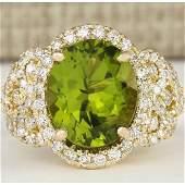 802 CTW Natural Peridot And Diamond Ring In 14k Yellow