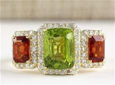 585 CTW Natural Peridot And Sapphire Diamond Ring In
