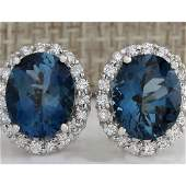 850 CTW Natural Topaz And Diamond Earrings 14K Solid