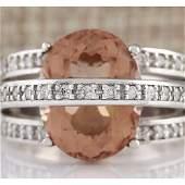 805 CTW Natural Morganite And Diamond Ring 14k Solid