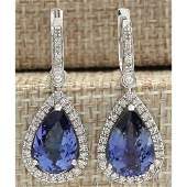 665 CTW Natural Tanzanite And Diamond Earrings 14K