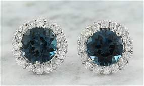 365 CTW Topaz 14K White Gold Diamond Earrings