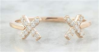 010 CTW Diamond 18K Rose Gold Double X Open Front Ring