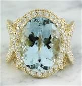 1221 CTW Aquamarine 14K Yellow Gold Diamond Ring
