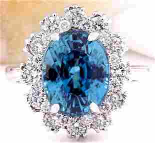 9.20 CTW Natural Zircon 14K Solid White Gold Diamond