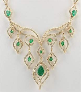14.80 CTW Natural Emerald And Diamond Necklace In 14K