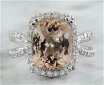 493 CTW Morganite 14K White Gold Diamond Ring