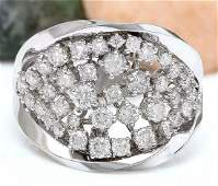 140 CTW Natural Diamond 14K Solid White Gold Ring