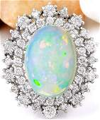 420 CTW Natural Opal 14K Solid White Gold Diamond Ring