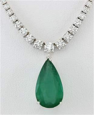 10.83 CTW Natural Emerald And Diamond Necklace In 14K