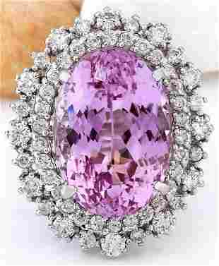 14.61 CTW Natural Kunzite 18K Solid White Gold Diamond