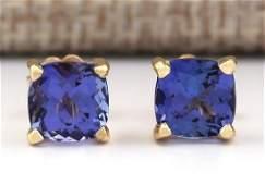 290 CTW Natural Blue Tanzanite Earrings 14k Solid