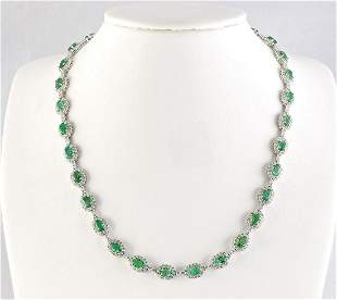 28.20 CTW Natural Emerald And Diamond Necklace In 14k