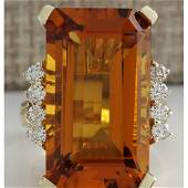 1930 CTW Natural Madeira Citrine And Diamond Ring 14K