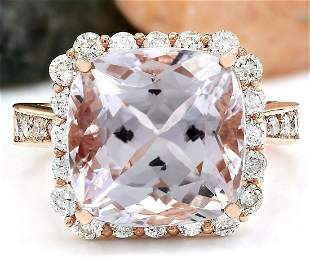 11.87 CTW Natural Kunzite 18K Solid Rose Gold Diamond