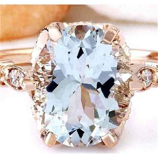 3.40 CTW Natural Aquamarine 14K Solid Rose Gold Diamond