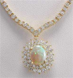 12.45 CTW Natural Australian Opal And Diamond Necklace