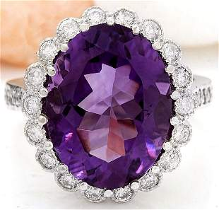 12.32 CTW Natural Amethyst 18K Solid White Gold Diamond