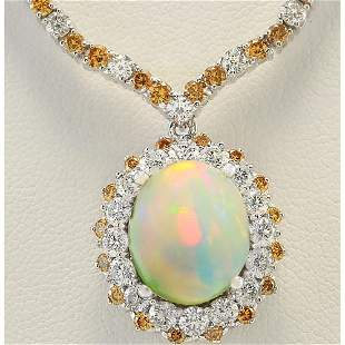 18.12 CTW Natural Opal And Diamond Necklace In 14k
