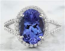 610 CTW Tanzanite 14K White Gold Diamond Ring