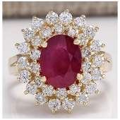 327 CTW Natural Ruby And Diamond Ring 14K Solid Yellow