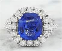 688 CTW Sapphire 18K White Gold Diamond Ring