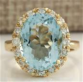 532 CTW Natural Aquamarine And Diamond Ring 18K Solid
