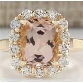 375 CTW Natural Morganite And Diamond Ring 18K Solid