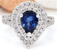 295 CTW Natural Sapphire 14K Solid White Gold Diamond