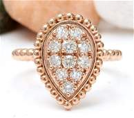 050 CTW Natural Diamond 18K Solid Rose Gold Ring