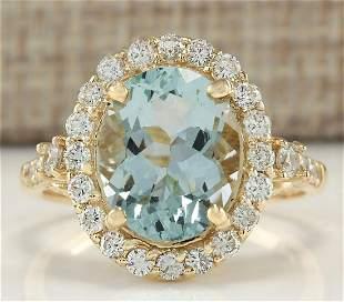 3.81 CTW Natural Aquamarine And Diamond Ring In 14K