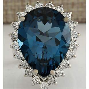 17.36CTW Natural London Blue Topaz And Diamond Ring