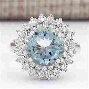 4.25 CTW Natural Aquamarine And Diamond Ring In 18K