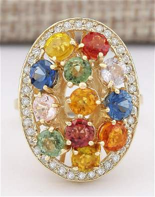 5.72 CTW Natural Ceylon Sapphire And Diamond Ring In