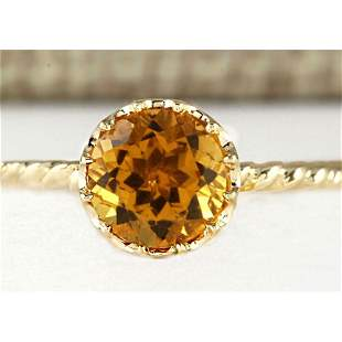 1.50 CTW Natural Madeira Citrine Ring 18K Solid Yellow