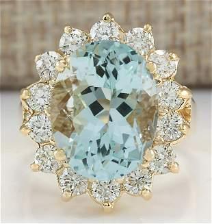 10.48CTW Natural Aquamarine And Diamond Ring In14K