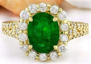 2.35 CTW Natural Emerald 14K Solid Yellow Gold Diamond