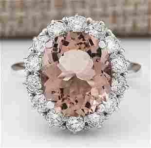 7.04 CTW Natural Morganite And Diamond Ring In 18K