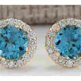 3.65 CTW Natural Blue Topaz And Diamond Earrings 18K