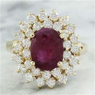 3.53 CTW Ruby 18K Yellow Gold Diamond Ring