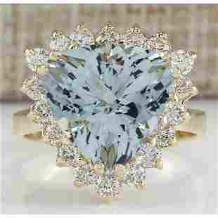 5.84 CTW Natural Aquamarine And Diamond Ring 18K Solid