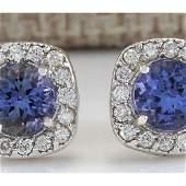 297 CTW Natural Tanzanite And Diamond Earrings 14K