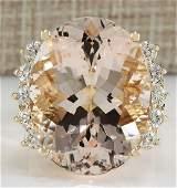 2499 CTW Natural Morganite And Diamond Ring In 18K