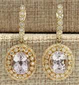 12.30 CTW Natural Morganite And Diamond Earrings 18K